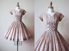 50s Dress  Vintage 1950s Dress  Fawn Brown White by jumblelaya
