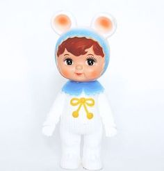 Snow baby Woodland Doll by Lapin and me. (Blue collar and ears)