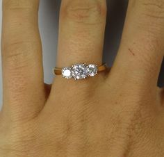 Classic Simple Yellow Gold Vintage Three Stone Diamond Engagement Ring - RGDI404P on Etsy, $2,085.00