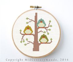 Three Little Birds Cross Stitch Pattern Instant Download Modern Cute Needlepoint