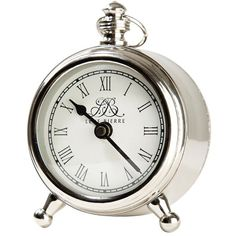 Lene Bjerre Clotilde Clock - Silver ($59) ❤ liked on Polyvore featuring home, home decor, clocks, silver clock, pocket watch clock, silver home decor and silver home accessories