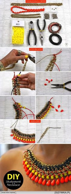 Weaving together different styles of chain and adding some beads for color... love this tutorial! Find similar supplies at www.pebeads.com