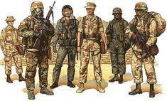 Marine Corps artwork of D. Marine Corps Desert Storm uniform print depicting Gulf War combat uniforms of American Marines Military Gear, Military Police, Military History, Usmc, Military Uniforms, Marine Corps Uniforms, Us Marine Corps, Army Drawing, Military Decorations