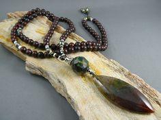 Mala Beads Necklace  Moss Agate Mala with by goodmedicinegemstone
