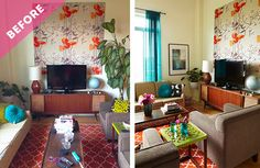 My Mid-Century Inspired Living Room Makeover - Hello Yellow Blog