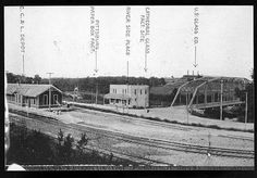 Gas City circa Image shows the C. Depot, Pittsburg Paper Box Factory, Cathedral Glass Factory site and the U. Glass Co. and the iron bridge over the Mississinewa River. Historic photo courtesy of Marion Public Library Museum. The Iron Bridge, Marion Indiana, Gas City, Midwest City, Family Roots, Local History, Old Pictures, Historical Photos, Box