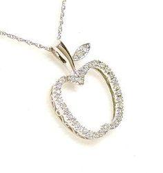 0.20 cttw Solid 14k White Elegant Apple Diamond Pendant