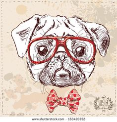 Hipster pug dog with glasses and suit in vector on vintage textured paper background, hand drawn sketchy illustration