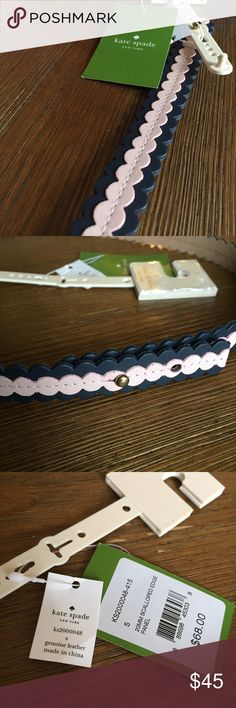 Kate Spade Scalloped Edge Belt Gorgeous leather belt in pink and navy. Size small. Small imperfection on one notch. Pictured. Priced accordingly. No trades. kate spade Accessories Belts