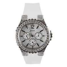 Guess Rhinestone Watch - Women's Watches in White Wedding Preparation List, Michael Kors Watch, Rolex Watches, Shoe Bag, Accessories, Jewlery, Style, Polyvore, Beautiful