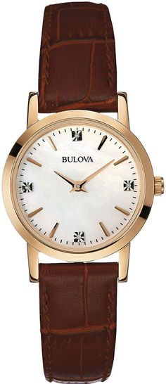 7bf76e28231 Bulova Ladies Diamond Watch - Mother of Pearl Dial - Gold-Tone Case -  Leather