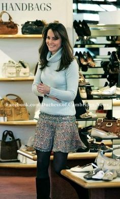 3.7.2006: Kate was spotted shopping at Russell and Bromley in London. She looked at shoes and handbags but left without buying anything.