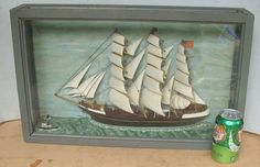 ca 1920s American 3-masted wood Sailing Ship diorama *
