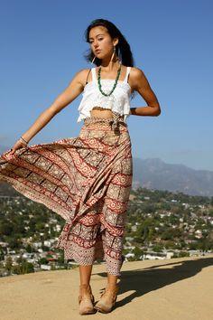 1970s Indian Block Print Maxi Skirt