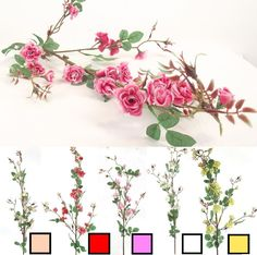 WILD ROSE BLOSSOM BRANCH!! Thorn Bush Artificial Flowers with Leaves Foliage!! in Home, Furniture & DIY, Home Decor, Dried & Artificial Flowers | eBay!