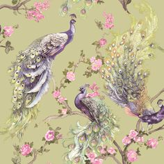 We simply love the detail in this elegantly painted peacock design with subtle metallic highlights with a green wallpaper background. 🌟 😘 #animalwallpaper #uniquewallpaper #elegantdecor #chinoiserie Peacock Wallpaper, Tier Wallpaper, Navy Wallpaper, Glitter Wallpaper, Wallpaper Online, Vinyl Wallpaper, Wallpaper Samples, Animal Wallpaper, Victorian Architecture