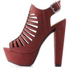 Charlotte Russe Laser Cut Slingback Platform Sandals ($39) ❤ liked on Polyvore featuring shoes, sandals, burgundy, slingback sandals, slingback shoes, charlotte russe sandals, block heel shoes and cage sandals