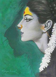 Vijaya Laxmi exhibits the power that a woman possesses through her illustration series, 'Devi', 'Shiva-Shakti' and various other series. Durga Painting, Painting Art, Durga Maa Paintings, Painting Tips, Watercolor Painting, Poster Color Painting, Buddha Painting, Watercolor Artists, Painting Lessons