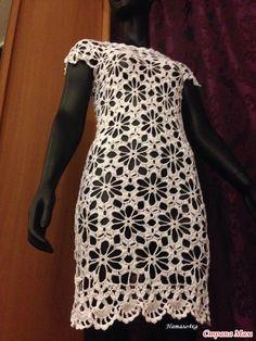 """Платье шестиугольными мотивами """"Ромашки от Наташки"""". Ищу компанию для совместного вязания."""