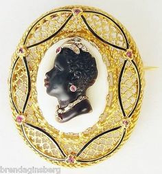 Antique French Blackamoor Carved Cameo Habille Brooch Gold Diamond Ruby 5160 | eBay
