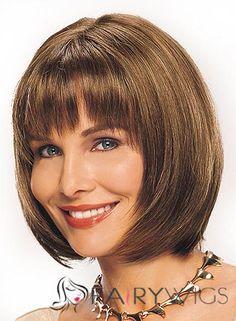 Wig Online Short Straight Brown 12 Inch Remy Human Hair Wigs Medium Hair Styles, Natural Hair Styles, Short Hair Styles, Hair Medium, Remy Human Hair, Human Hair Wigs, High Quality Wigs, Best Wigs, Short Hair Wigs
