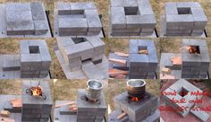 How to make your own Rocket Stove!  Use as an outdoor cooking stove or a greenhouse heater. A very wallet friendly DIY project!  What you need:  16 Bricks Scrap Wood Firestarter Metal Stove Grate