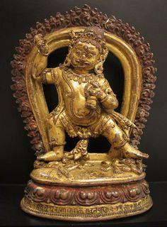 13th century, Nepal, Khasa Malla, wrathful Vajrapani, gilt copper and pigment, private collection