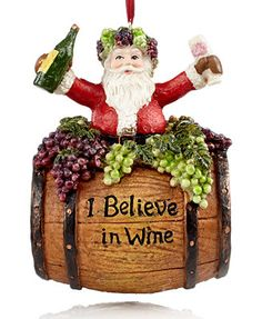 Kurt Adler I Believe in Wine Santa Christmas Ornament