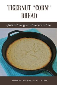 This tasty bread is actually gluten-free, grain-free, and corn-free (if you choose corn-free baking powder). Plus, it is full of resistant starch to feed your microbiome! #food is medicine #nutrientdensity #ntp #reclaimingvitality