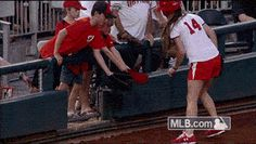 Young Nats fan gets souvenir from ballgirl, so happy he almost leaves atmosphere