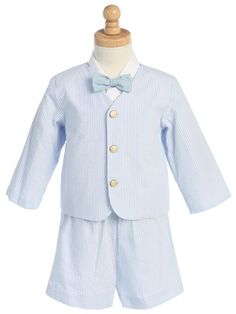 Blue striped seersucker eton set with shorts for baby, infant, toddler and little boys takes a vintage style cut and adds spring style and color for a perfect boys Easter outfit!  A blue striped eton blazer is paired with shorts, bow tie and white oxford shirt pulling together the whole look.