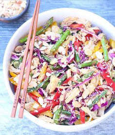 Chinese Chicken Salad: A delightful and 🌈 in a bowl. Chicken Salad, Pasta Salad, Chinese Chicken, Original Recipe, Salad Recipes, Peanut Butter, Posts, Healthy, Ethnic Recipes