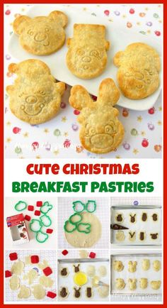 Fill these festive Christmas Breakfast Pastries with chocolate spread jelly or pie filling then surprise your kids on Christmas morning with a smiling Santa Claus a merry little elf Rudolph the Red Nose Reindeer a sweet teddy bear or a frosty Snowmanl Christmas Food Treats, Christmas Brunch, Christmas Breakfast, Christmas Desserts, Christmas Morning, Merry Christmas, Xmas, Christmas Town, Christmas Foods