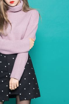#mixxmix Dotted Asymmetrical Hem Mini Skirt - Explore new styles and use this…