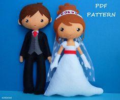 Patrón de costura PDF para hacer una novia y el novio.