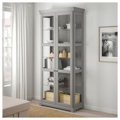 IKEA LIATORP glass-door cabinet 2 fixed shelves for high stability. Glass Shelves Ikea, Floating Glass Shelves, Glass Shelves Kitchen, Glass Cabinet Doors, Kitchen Cabinet Doors, Cabinet Decor, Glass Display Cabinets, Corner Display Cabinet, Cabinet Drawers