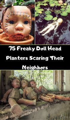 75 Freaky Doll Head Planters Scaring Their Neighbors Personalized Makeup Bags, Head Planters, Olive Gardens, Old Dolls, Simple Outfits, Fall Outfits, Doll Head, Weird World, Show Photos