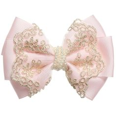 Pink & Gold Bow Clip Girls pale pink, satin ribbon bow by Cute Cute with gold embroidered lace and a string of pearl beads wrapped around the centre. It fastens to the hair with an 'alligator' clip and is a perfect accessory for an outfit. Ribbon Hair Bows, Diy Hair Bows, Lace Bows, Diy Ribbon, Bow Hair Clips, Bow Clip, Ribbon Flower, Tulle Hair Bows, Pink Bows