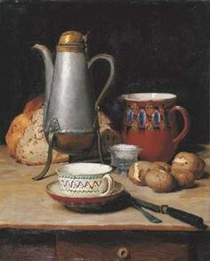 Swiss breakfast, 1897, by Albert Anker (1831-1910): coffee pot, pitch of water, bread, salt, potatoes, cup and saucer, knife and fork.