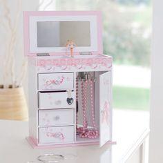 little girls  musical jewelry box pink ballerina play kids spinning fairytales