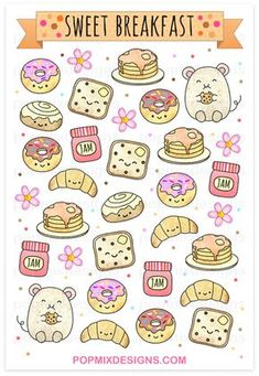 Cute Food Printable Stickers at catherinadesigns.c… – Niedliche Lebensmittel bedruckbare Aufkleber bei catherinadesigns. Cute Food Drawings, Cute Kawaii Drawings, Kawaii Doodles, Doodle Drawings, Easy Drawings, Doodle Art, Food Drawing Easy, Food Doodles, Bullet Journal Art