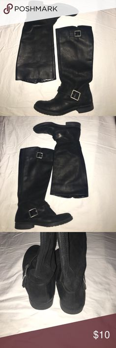 Black buckled boots Great quality, good condition! Xhilaration Shoes Winter & Rain Boots