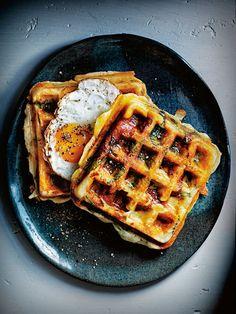 smoky chorizo, haloumi and spinach breakfast waffles from donna hay magazine issue #86