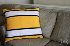Free Crochet Pattern - Pittsburgh Steelers NFL Logo Throw Pillow with striped back - great intarsia project to cheer on your favorite football team
