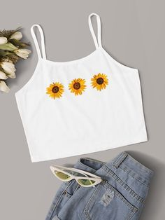 To find out about the Sunflower Print Crop Cami Top at SHEIN, part of our latest Tank Tops & Camis ready to shop online today! Girls Fashion Clothes, Teen Fashion Outfits, Outfits For Teens, Trendy Outfits, Girl Outfits, Teenager Outfits, Grunge Look, Grunge Style, Cute Comfy Outfits