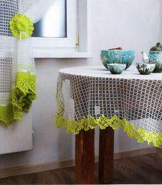 Crochet Curtains, Crochet Tablecloth, Valance Curtains, Crafty Craft, Filet Crochet, Interior Decorating, Crochet Patterns, Crafts, Diy