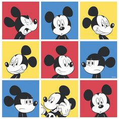 This simple yet brilliant wallcovering has large red, yellow and blue squares filled with Walt Disney's Mickey Mouse pulling many different poses. Description from lancashirewallpaper.co.uk. I searched for this on bing.com/images