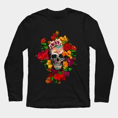 Sugar skull with flowers T-Shirt #teepublic #tee #tshirt #longsleeve #clothing #daisy #roses #floral #flower #indianchief #chief #owls #sugarskull #skull #pattern #owl #nativeamerican #native #indian #diadelosmuertos #muertes #mexicanart #dayofdead #mexicoskull #mexicosugarskull #halloween #thedayofthedead