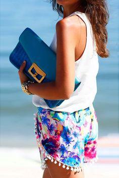 Brightly Hued Print Pom Deco Shorts - OASAP.com