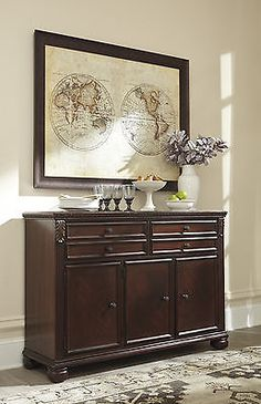 Sideboards And Buffets 183322 Ashley D626 80 Leahlyn Reddish Brown Finish Dining Room Buffet